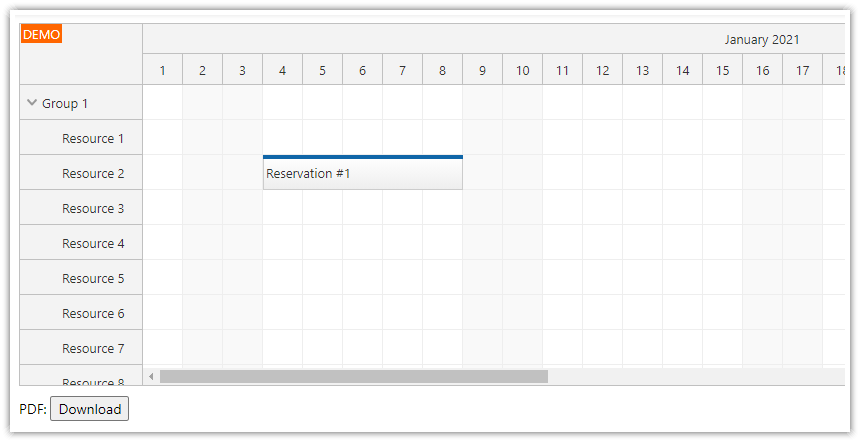 javascript html5 scheduler pdf export paged by month