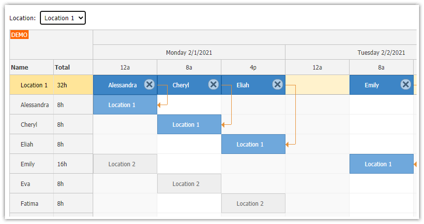 react shift scheduling application php mysql