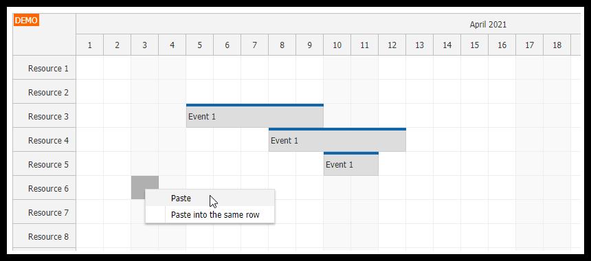 JavaScript Scheduler: Copy Multiple Events