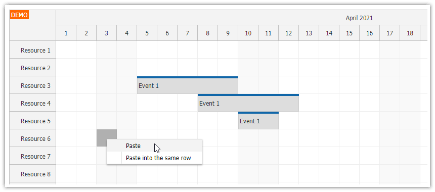 javascript scheduler copy multiple events