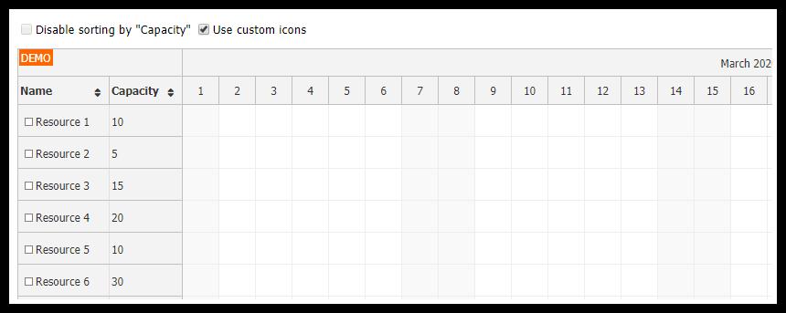 JavaScript Scheduler: Row Sorting Customization