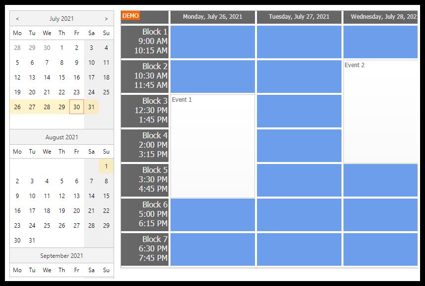 ASP.NET Timetable with Custom CSS Theme (C#, VB.NET)
