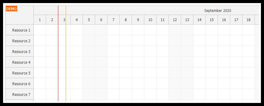 javascript scheduler separators time header