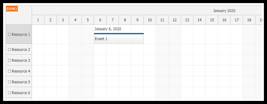 javascript scheduler display text above events