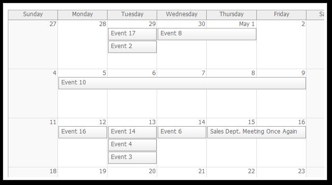 monthly event calendar asp.net mvc