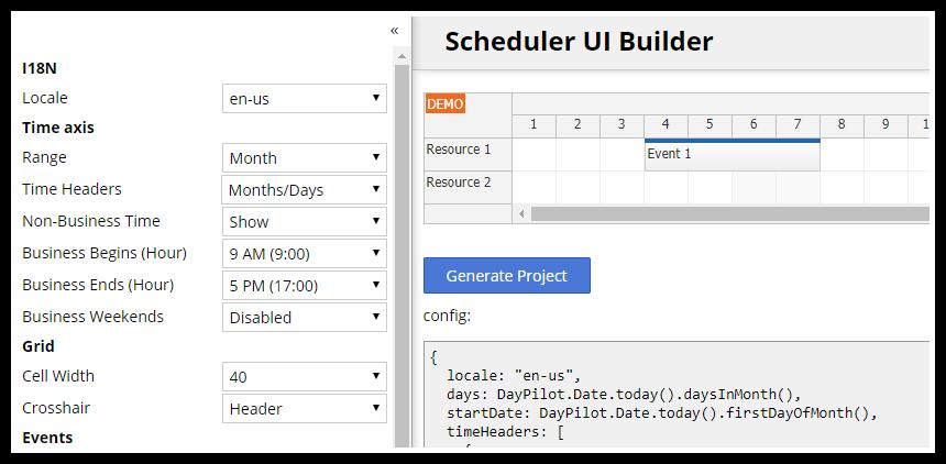 HTML5/JavaScript Scheduler: Online Configurator
