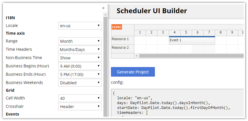 html5 javascript scheduler configurator