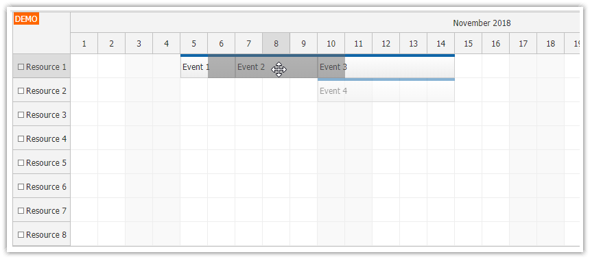 JavaScript Scheduler: Pushing Existing Events Back (Drag and Drop)