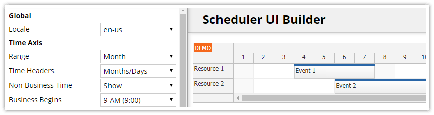 Angular Scheduler: Online Configurator