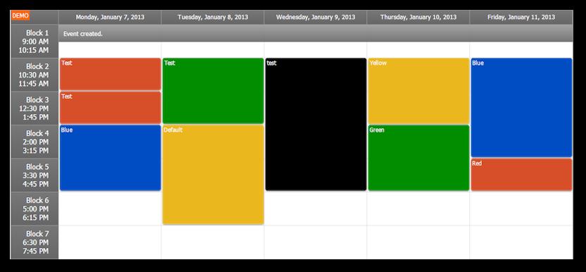 timetable asp.net week