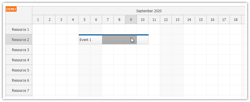 javascript scheduler selection over events