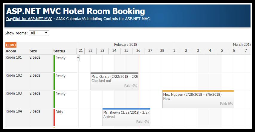 ASP.NET MVC Hotel Room Booking