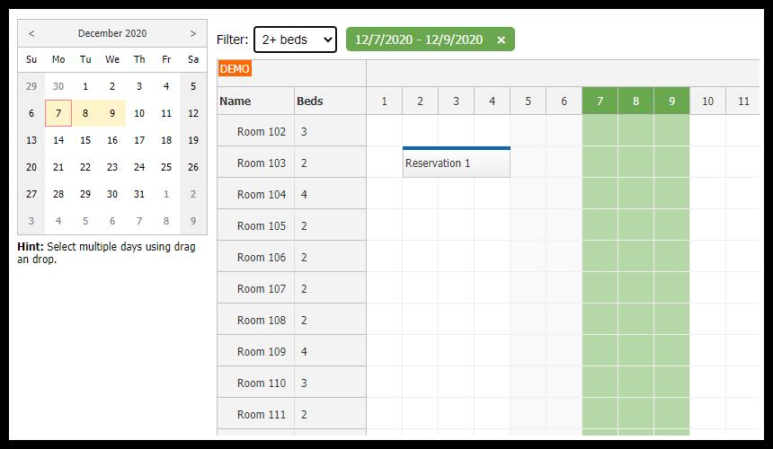 javascript html5 scheduler room filtering availability tutorial