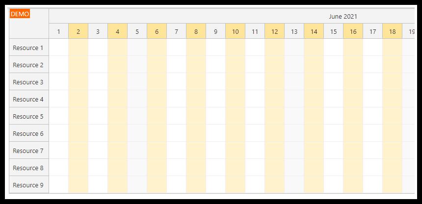javascript scheduler alternate column colors