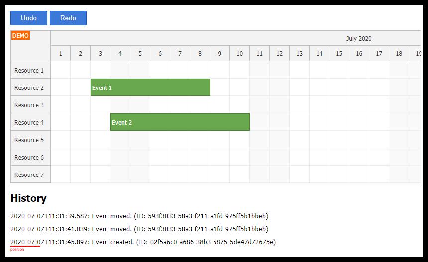 Angular Scheduler: Undo/Redo