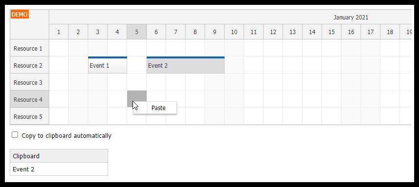 Angular Scheduler: Event Copy & Paste
