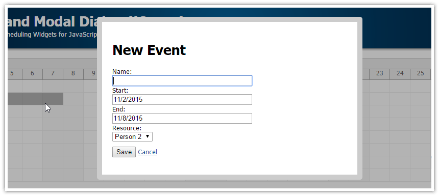 html5 scheduler javascript new event modal dialog