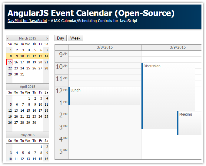 angularjs event calendar open source