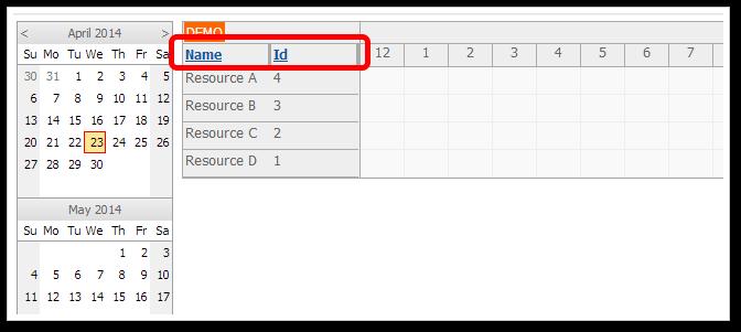 asp.net scheduler column sorting