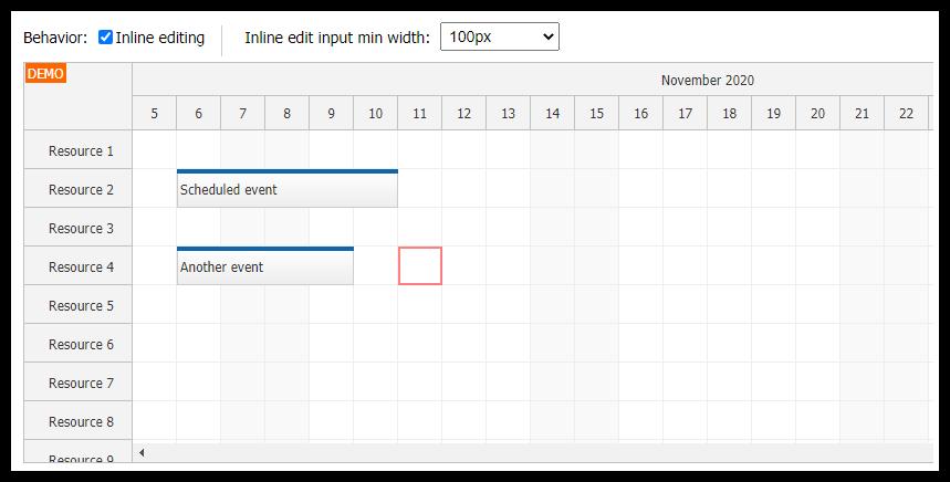 JavaScript Scheduler: Keyboard Navigation