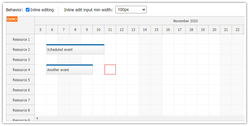javascript scheduler keyboard navigation