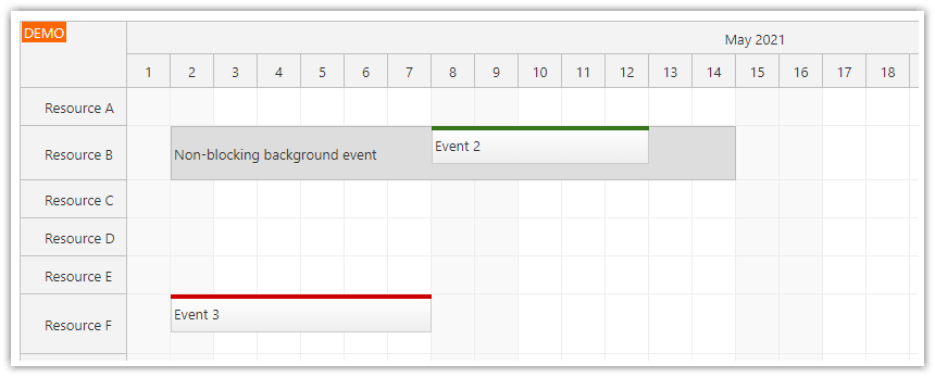 react scheduler how to display slot details using background events