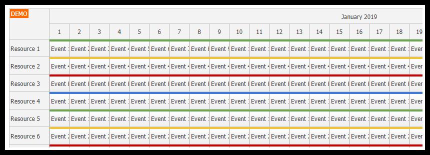 asp.net core javascript scheduler dynamic event loading