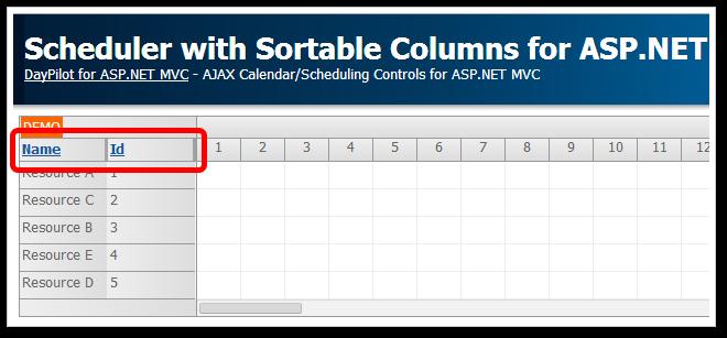 scheduler sortable columns asp.net mvc 5