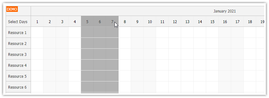javascript scheduler use frozen rows to select time columns
