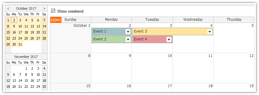 html5 javascript monthly event calendar spring boot java
