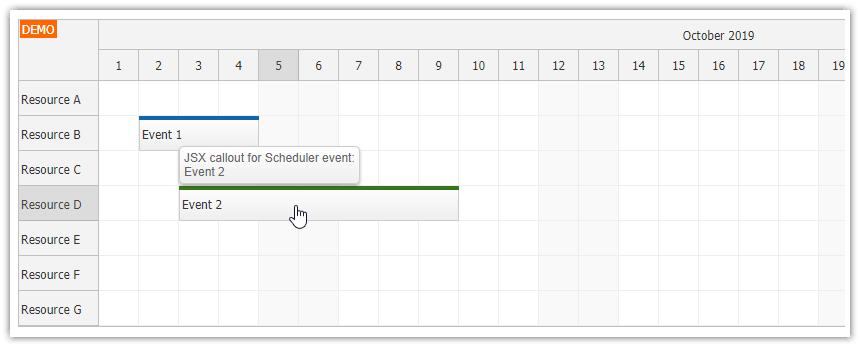 react scheduler bubble callout jsx component