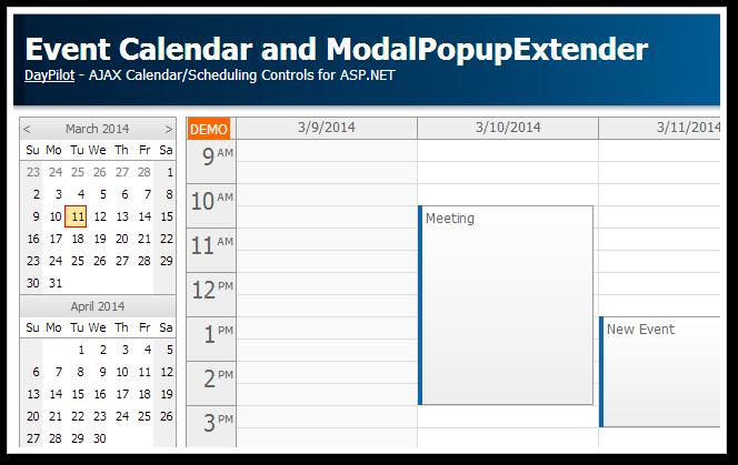 event calendar asp.net modalpopupextender