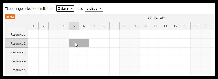 JavaScript Scheduler: Limit Time Range Selection (Min/Max)