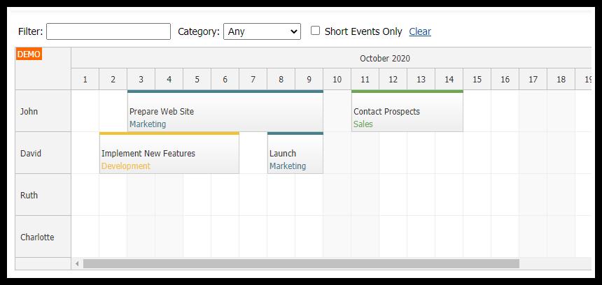 angular scheduler event filtering