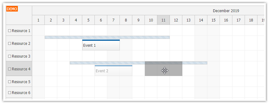 javascript scheduler limited drag and drop range moving