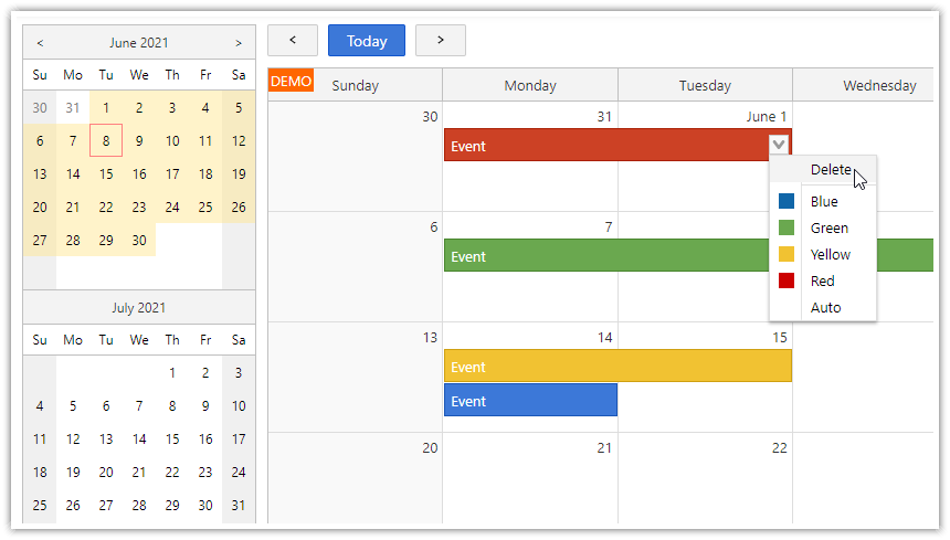 HTML5 Monthly Calendar and ASP.NET Core
