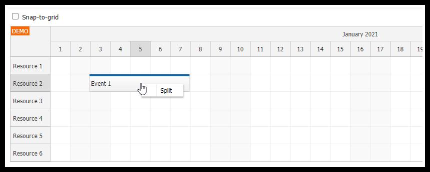 HTML5 Scheduler: Splitting an Event
