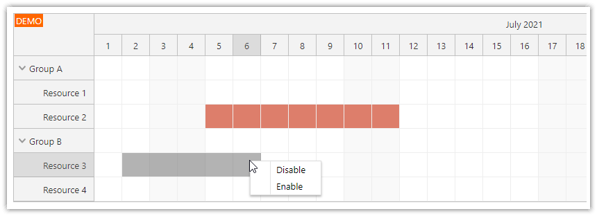 Angular Scheduler: How to Disable Time Slots