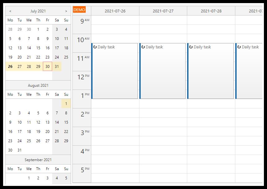 asp.net calendar recurring events
