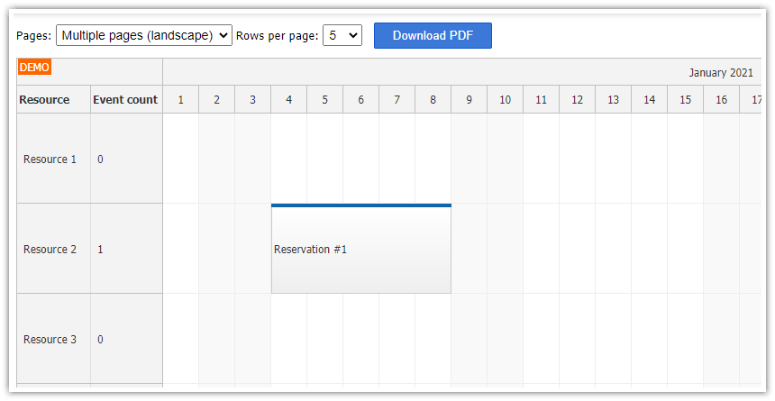 JavaScript/HTML5 Scheduler PDF Export (Paged by Resources)