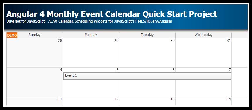Angular 4 Monthly Event Calendar Quick Start Project