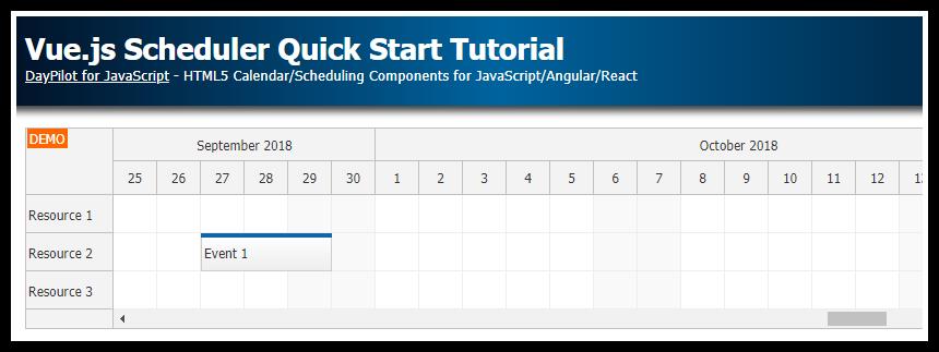 Vue.js Scheduler Quick Start Tutorial