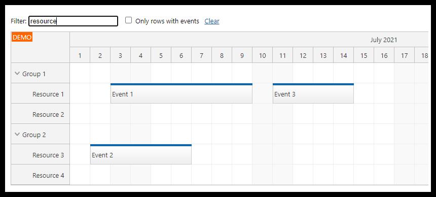 angular scheduler row filtering