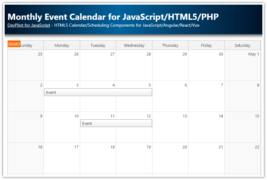 monthly event calendar javascript php