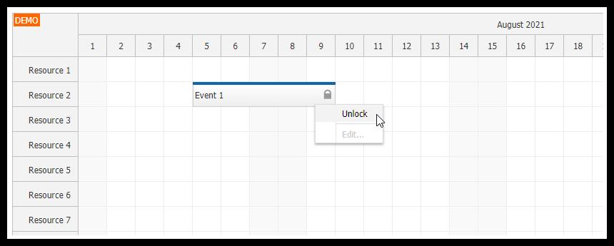 JavaScript Scheduler: Lock Events using Context Menu