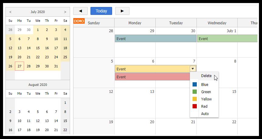 html5 monthly calendar asp.net core
