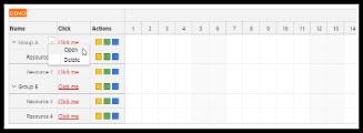 Angular Scheduler: Row Header Actions
