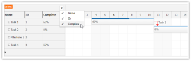 JavaScript Gantt Chart: Show/Hide Columns using Context Menu