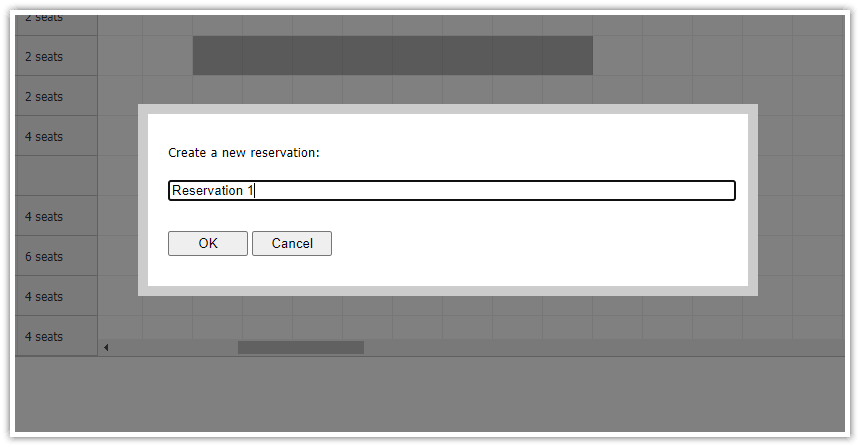 php restaurant table reservation system prompt dialog