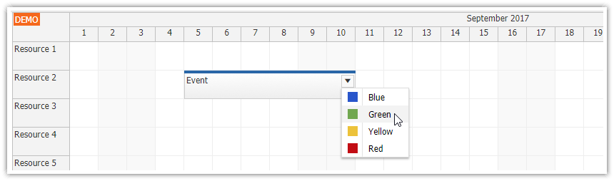 html5 javascript scheduler spring boot java event colors